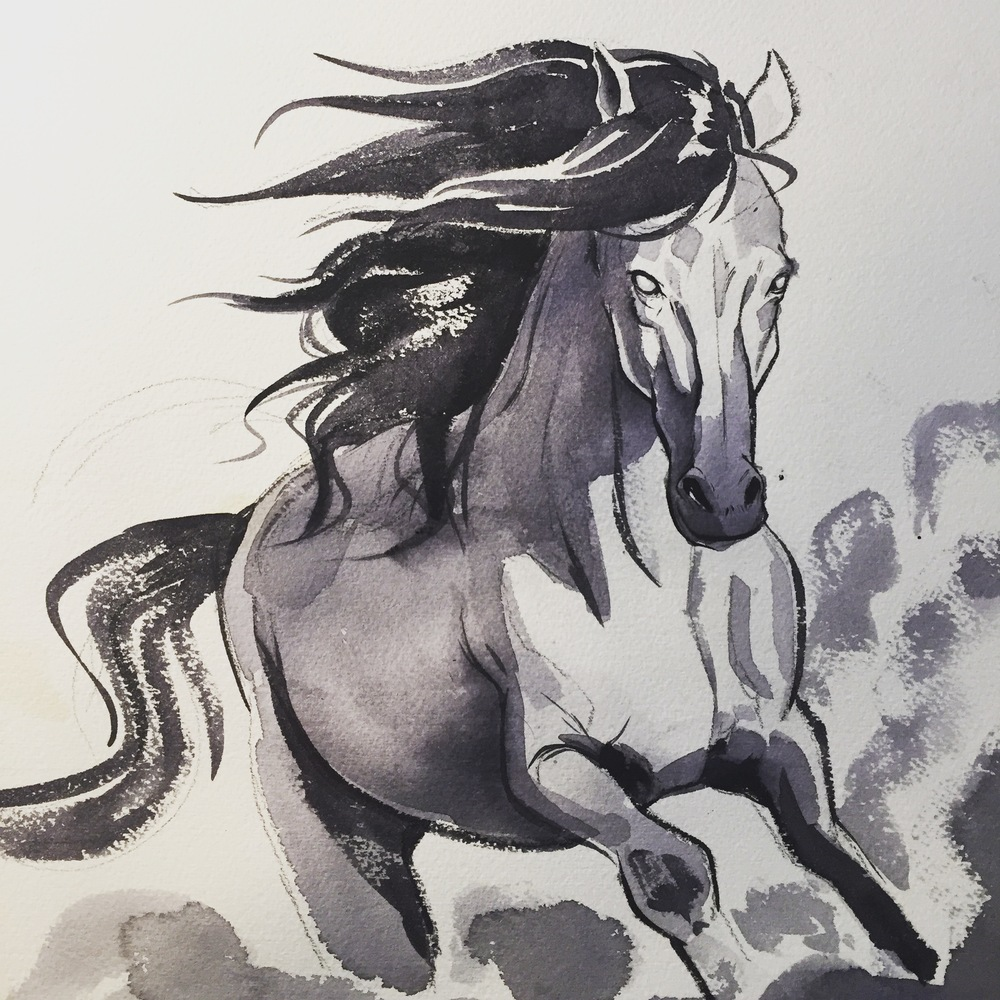 I want the final to be painted in watercolor and in very few colors.  It has been a while since I have painted digitally so i did a test painting of one of the horses.  I am trying to capture the look of this portrait series I did a  while back.