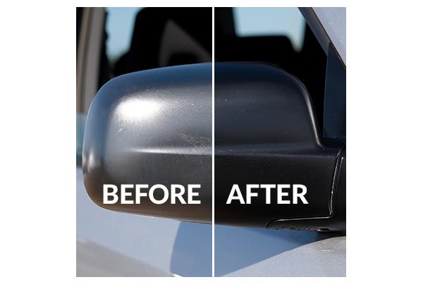 Detailing supplies for Infinity QX50 mirror; Vinyl Magic lasts longer thanTurtle Wax Trim Restorer, Wipe New, Mothers Back-to-Black, ReNu Finish, Meguiar's Black Plastic Restorer