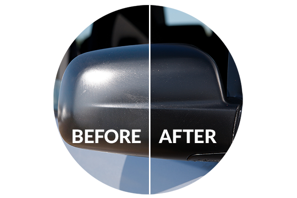 Detailing supplies for Toyota FJ Cruiser side view mirror; Vinyl Magic lasts longer than Turtle Wax Trim Restorer, Wipe New, Mothers Back-to-Black, ReNu Finish, Meguiar's Black Plastic Restorer