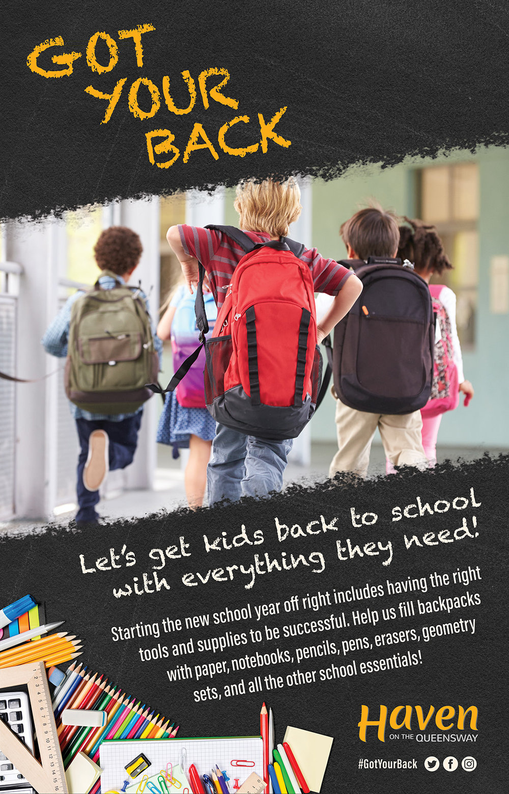 Our annual GOT YOUR BACK drive is beginning!    Help us fill backpacks with school supplies for students from Grades JK through 8 so they can start the new school year off right!