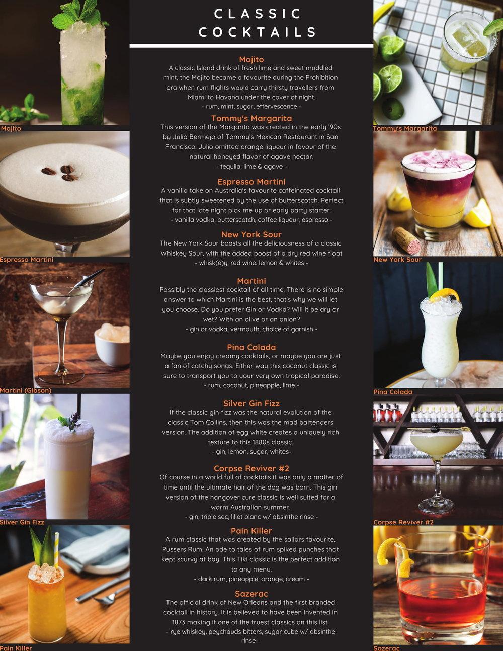 Your Bartender Classic Cocktails Menu List