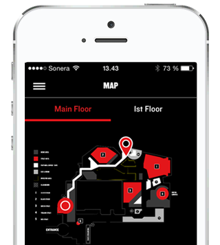 Slush event application with indoor positioning