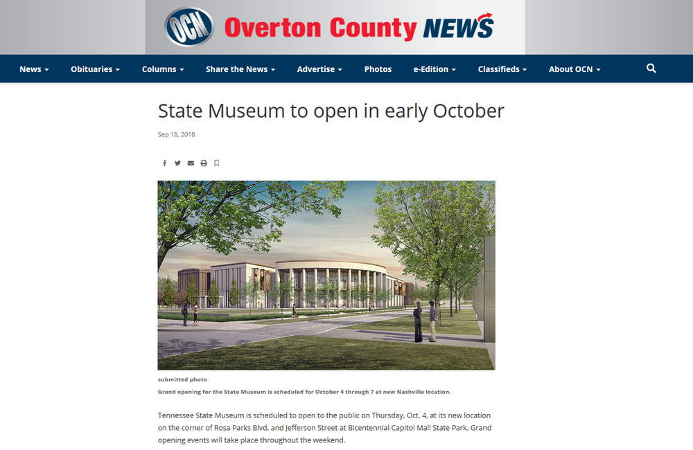 Tennessee State Museum news coverage. Click to visit website.