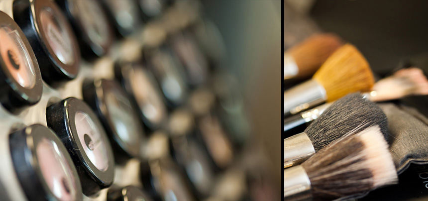 image of eye shadows and makeup brushes
