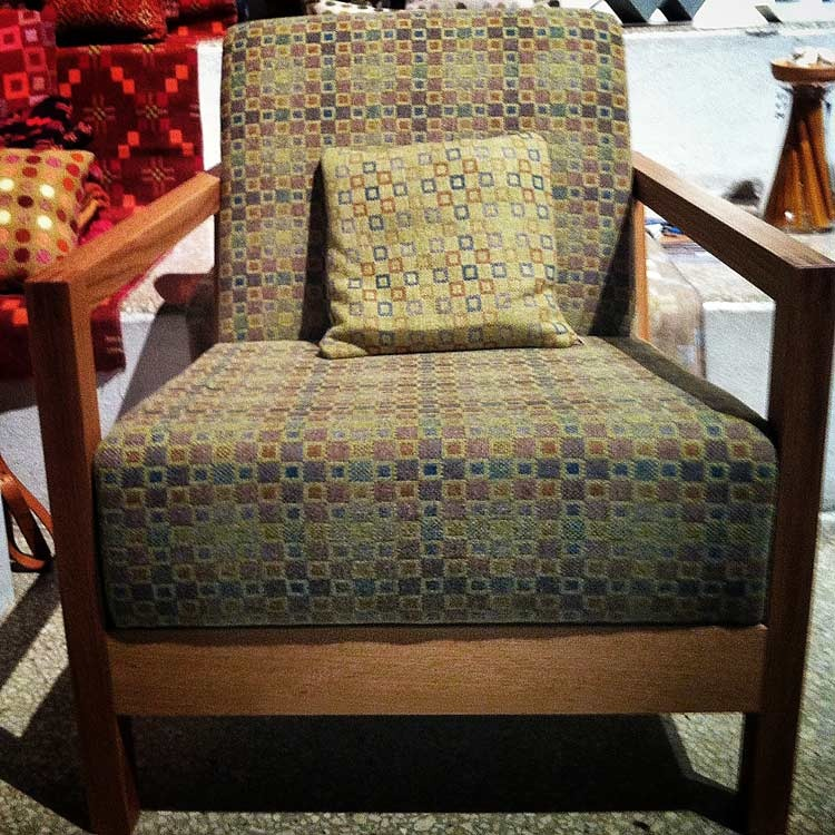 Our new Mini Mad upholstery fabric on a Mathew Hilton chair