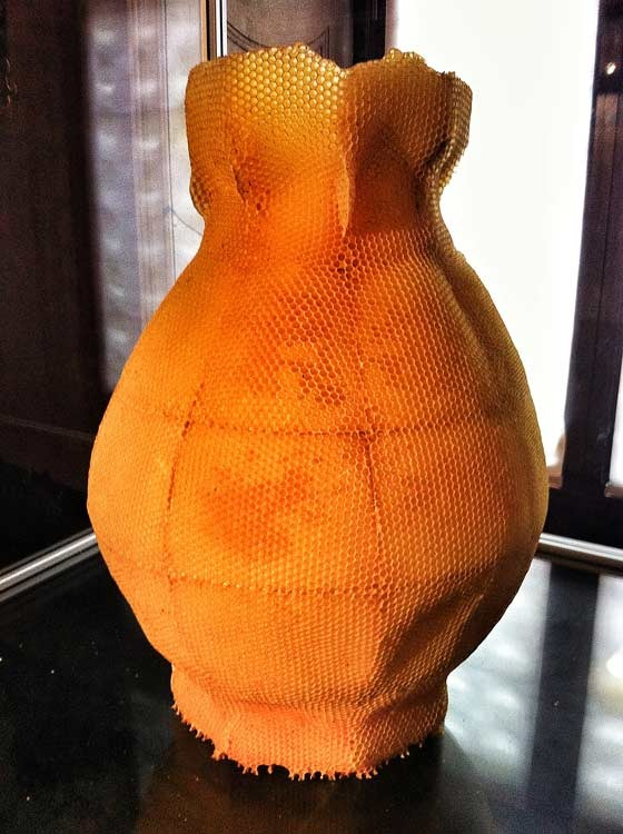 vase made out of honeycomb