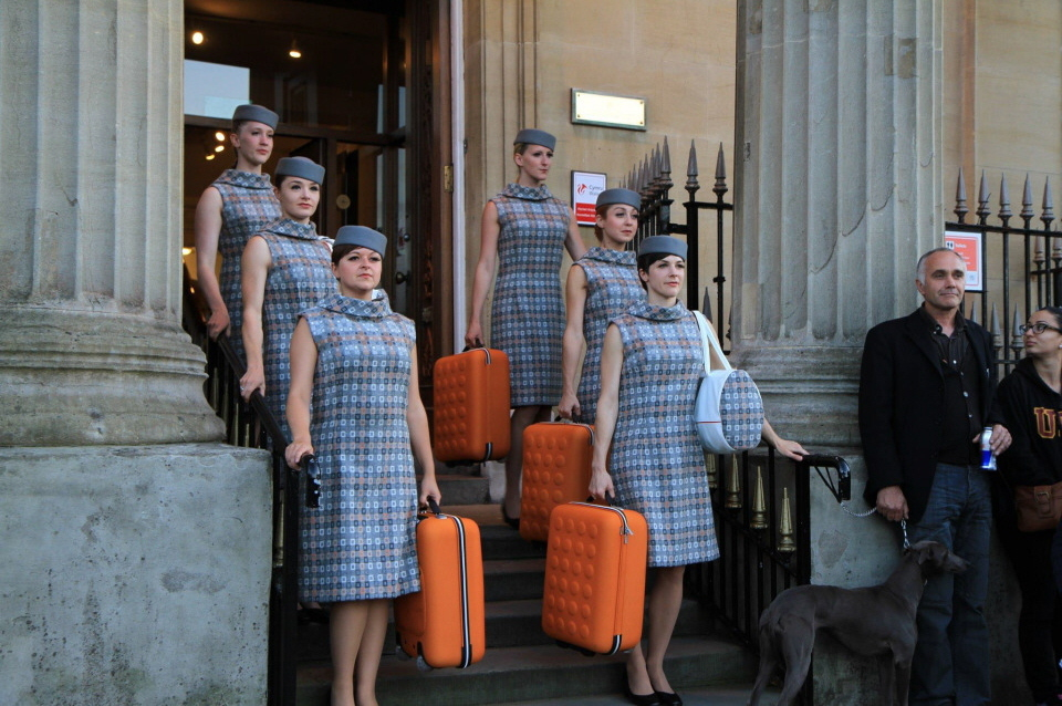 the AA troupe of air hostesses appear