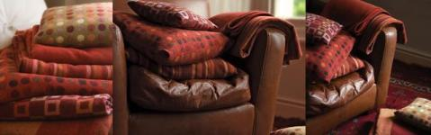 blankets, throws and cushions in spice