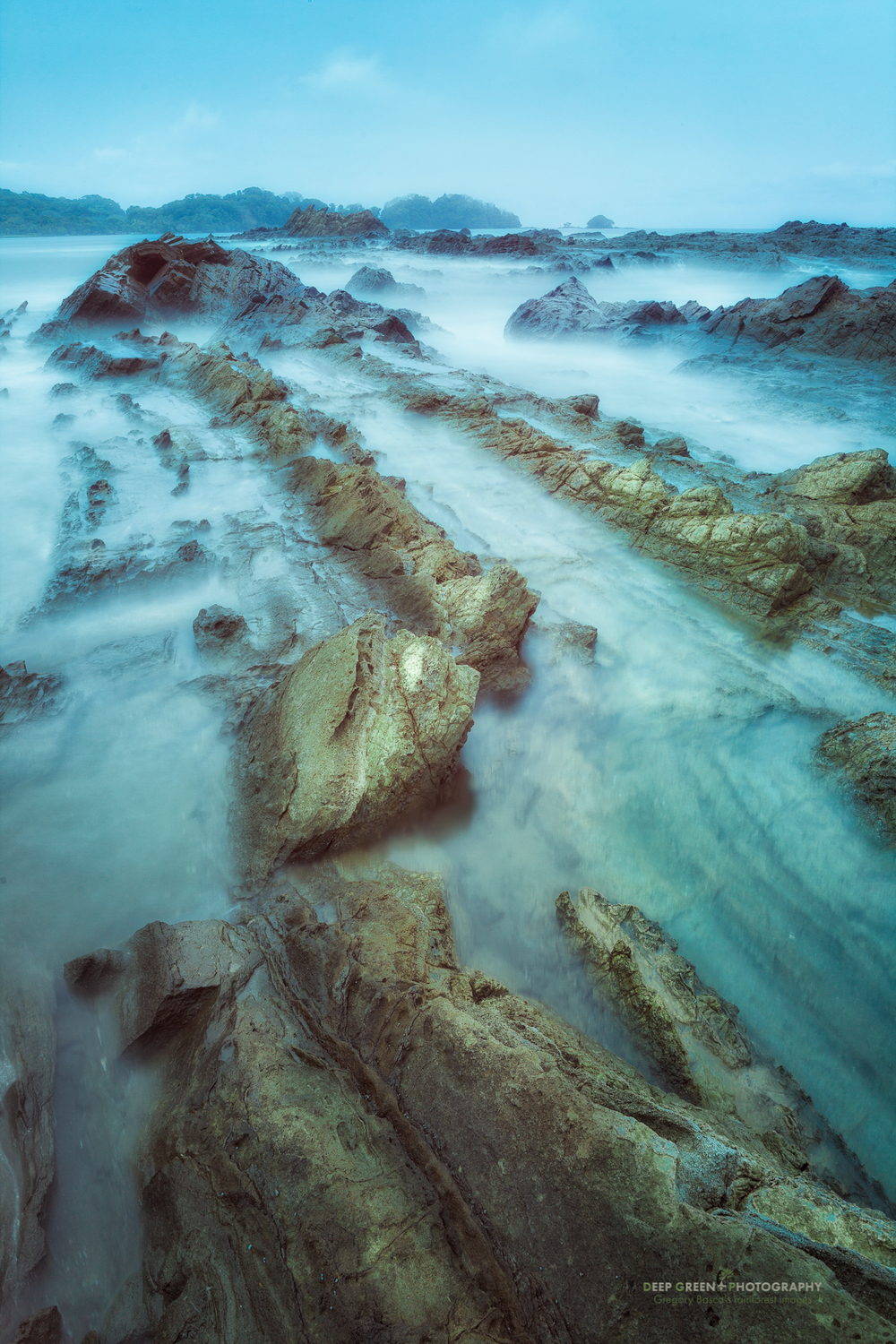 A long exposure on an overcast day at a beach near Dominical