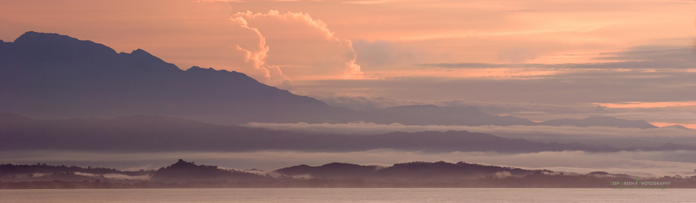 Sunrise over the Golfo Dulce as seen from the tip of the Osa Peninsula