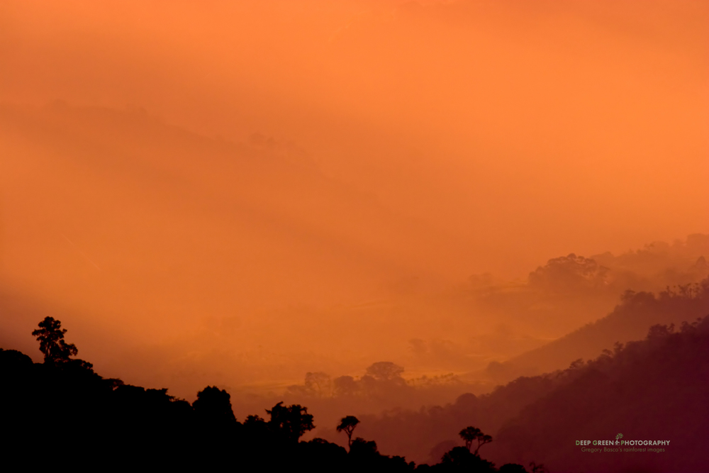 Sunset over rainforest hills near Tuis de Turrialba, Costa Rica