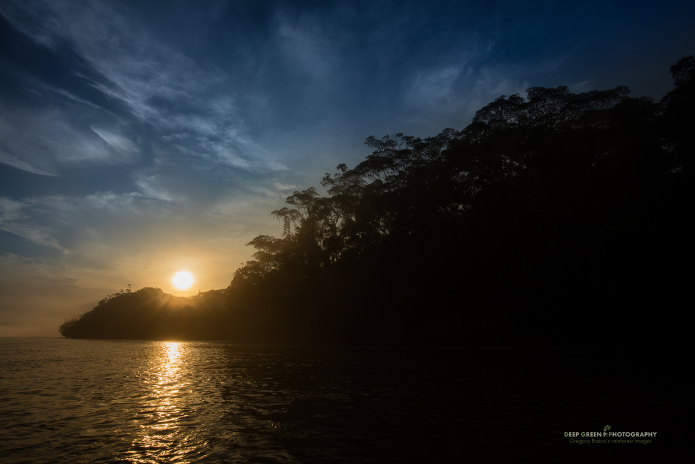 Sunrise over the Napo River in the Ecuadorian Amazon region