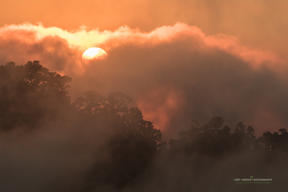 Sunset over the misty Talamanca Mountain Range in Costa Rica