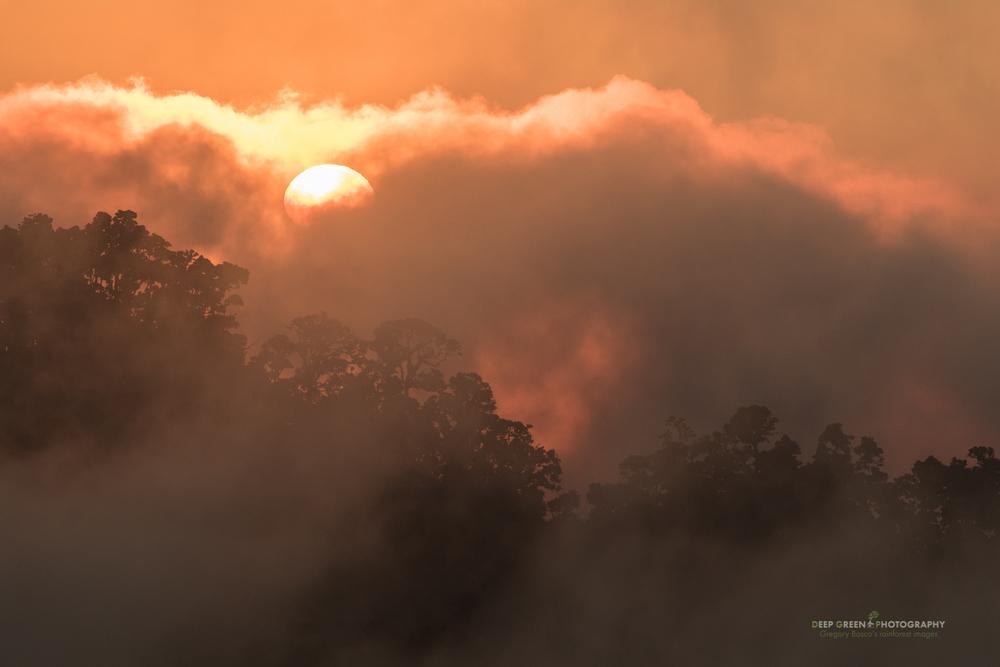 Sunset over the misty Talamanca Mountain Range in Costa Rica