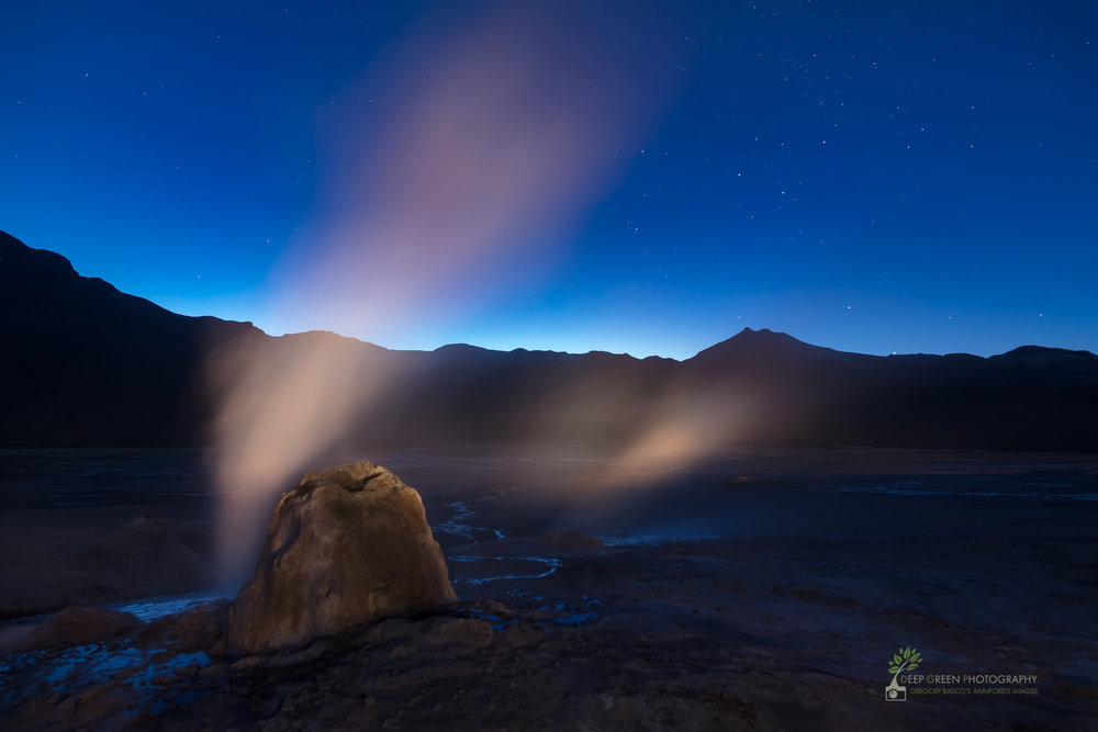 The Tatio geysers at over 15,000 feet in the altiplano of the Atacama Desert in Chile. Image taken just before sunrise.