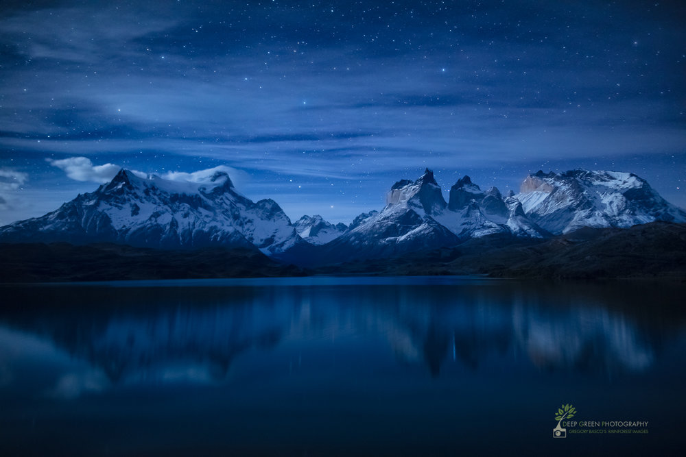 Moonlight over Lake Pehoe in Torres del Paine National Park, Chile