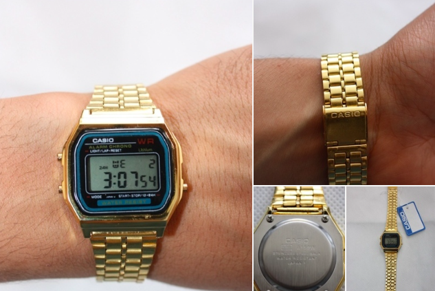 Gold Casio Classic Black Face Retro Vintage Digital Watch A159