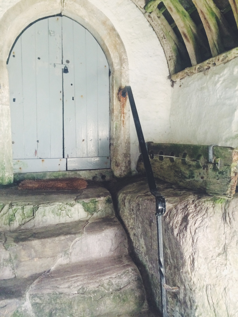 Talland church - original stocks!