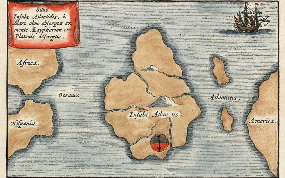 A 1669 map by Athanasius Kircher put Atlantis in the middle of the Atlantic Ocean. The map is oriented with south at the top.
