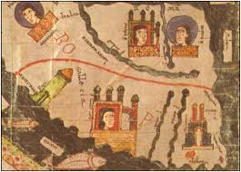 Detail of the 11th-century world map. On the left is the lighthouse that Trezenzonio ascended.