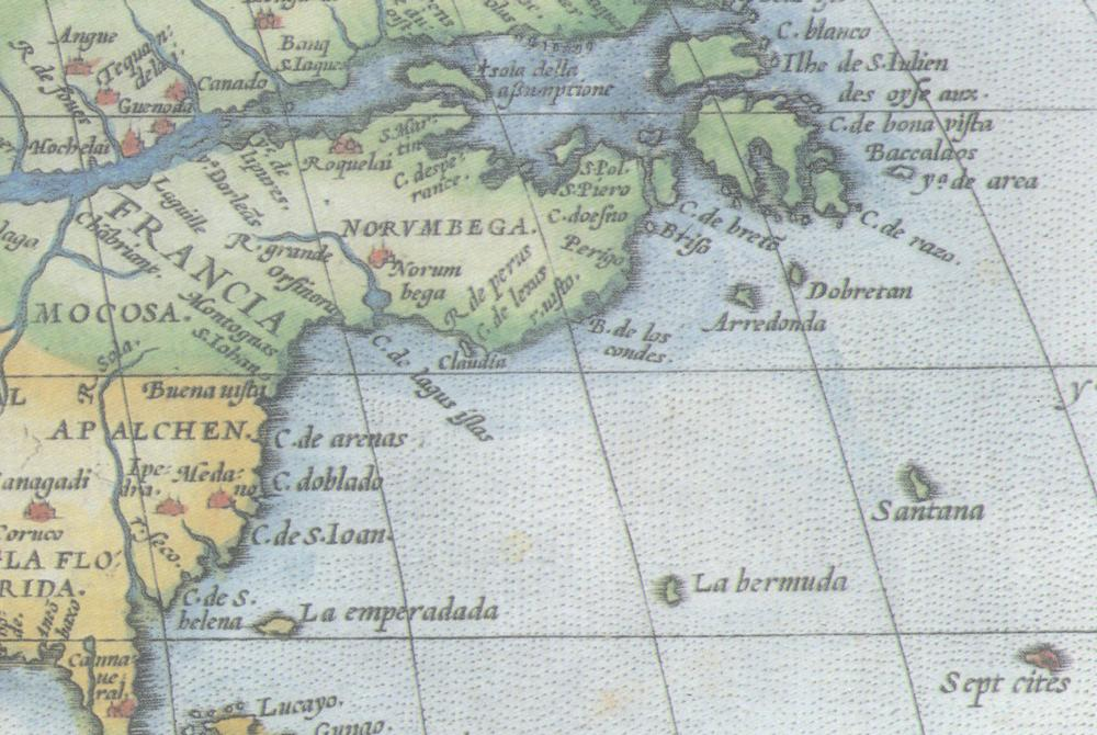 Ortelius Atlas 1570. Norumbega is represented here as a region and a city. Note all the cities represented with red castles, where none existed, and the phantom islands   S. Brandani   (upper right) and   Sept Cities   (lower right).