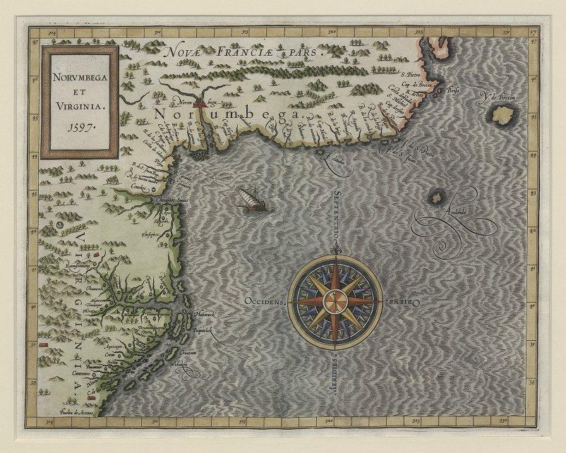 Norumbega and Virginia, Map of Corneille Wytfliet, 1597