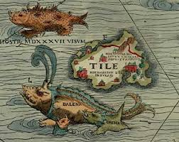 "Thule as  Tile  on the Carta Marina of 1539 by Olaus Magnus, where it is shown located to the north west of the Orkney islands, with a ""monster, seen in 1537""."