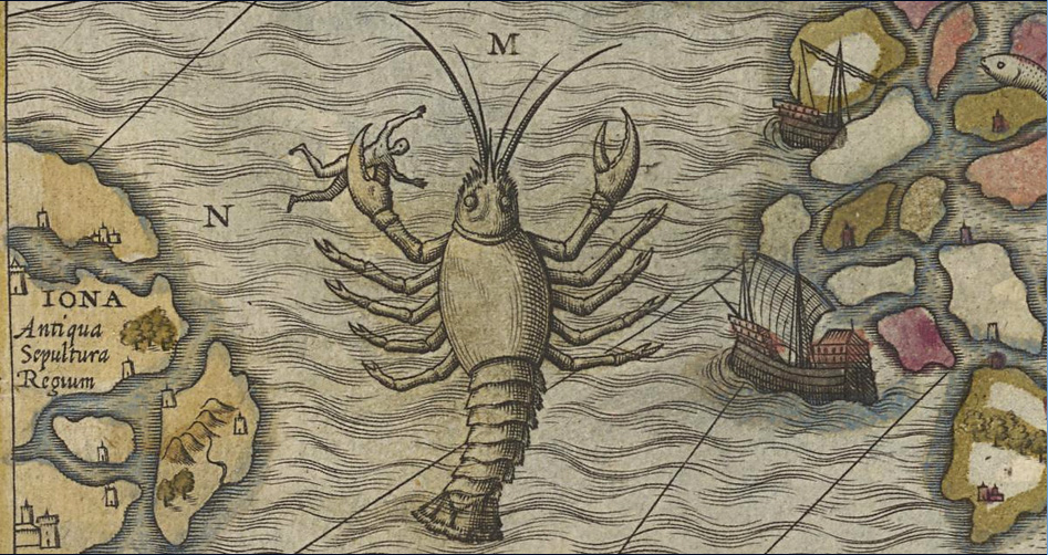 "Olaus Magnus 1539, ""lobster dangers""."