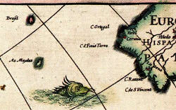 Brasil and Maydas, Blaeu map, 1617