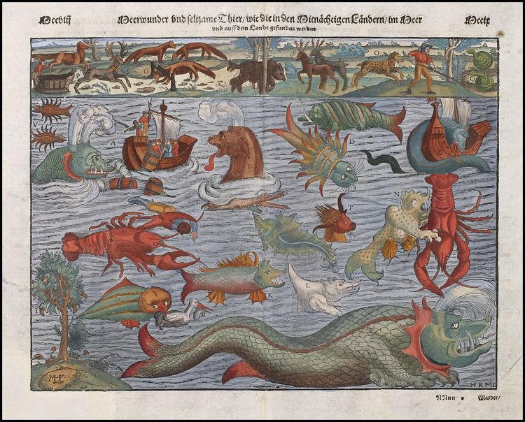 Sebastian Munster's Chart of Sea Monsters, 1552