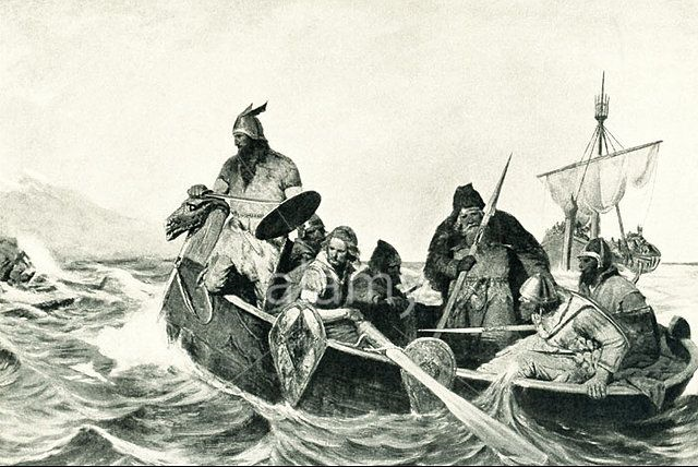 Norseman landing in Iceland, illustration by Oscar Wergeland.