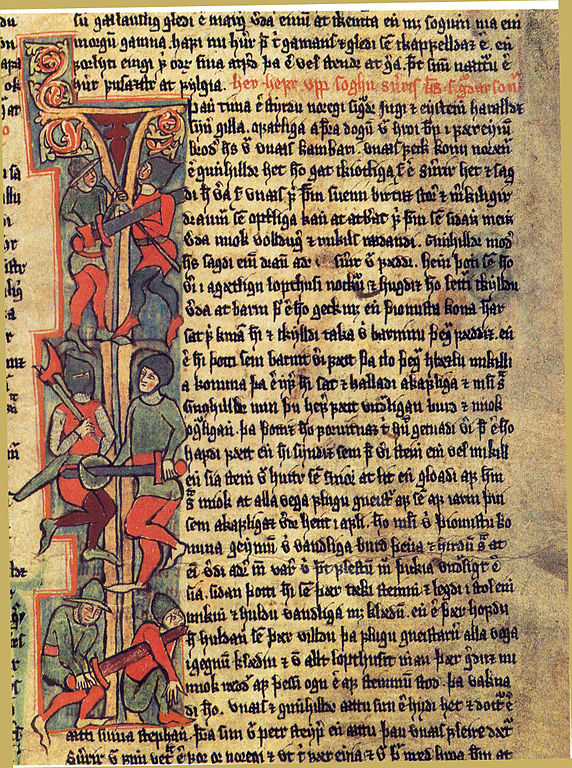 "A page from the Saga of Erik the Red, telling the story of Freydis, sister of Leif Eriksson, who settles in Vinland. In this tale, Freydis, eight months pregnant, frightens away the native ""Skraelings"" by bearing her breast and striking it with a sword while sounding a furious battle cry."
