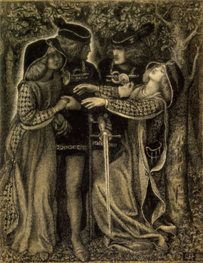 "One of the most famous depictions is Rossetti's ""How they Met Themselves"" depicting two medieval lovers coming upon their glowing doubles. One falls into   a deathly ( vertigo -like)   swoon  ."