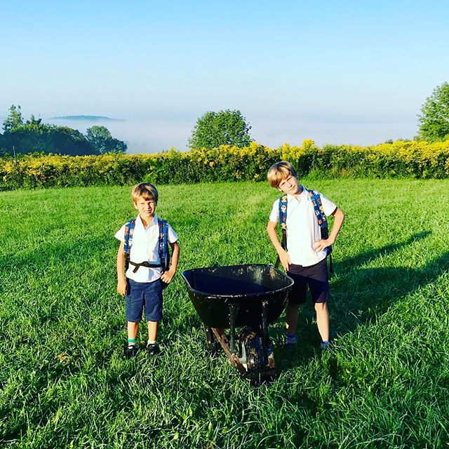 First day of 2nd and 4th grade upstate at the wonderful @homesteadschool . Tomorrow it will be hot so they were asked to bring bathing suits and water shoes to play in the stream. Pure heaven for little boys. Infinitely proud of these two for embracing our new adventure with such enthusiasm and grace. ❤️🌱 . . . . . . . . #getoutdoors #montessori #upstateny #love #homesteadschool