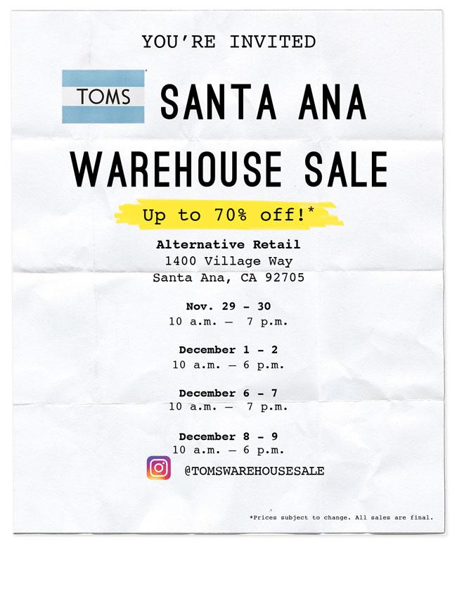 3214cdc6c6b TOMS Warehouse Sale - Santa Ana