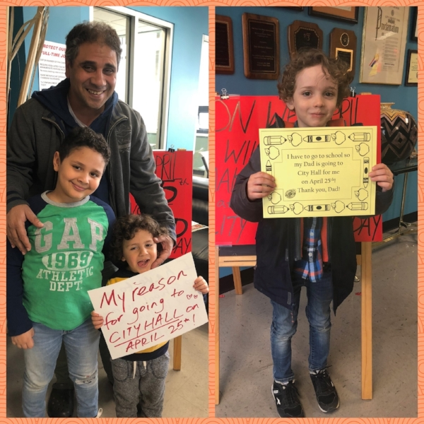 """LEFT: BROTHER TAREK WITH HIS TWO SONS OMAR AND MOHAMED, WHO ARE HIS REASONS FOR GOING TO CITY HALL ON APRIL 25TH!; RIGHT: FELIX, SON OF OUR MEMBER TIM, HOLDING A SIGN THAT SAYS """"I HAVE TO GO TO SCHOOL SO MY DAD IS GOING TO CITY HALL FOR ME ON APRIL 25TH! THANK YOU, DAD!"""""""