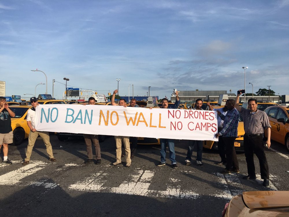 NYTWA members at JFK to say: NO BAN, NO WALL, NO DRONES, NO CAMPS
