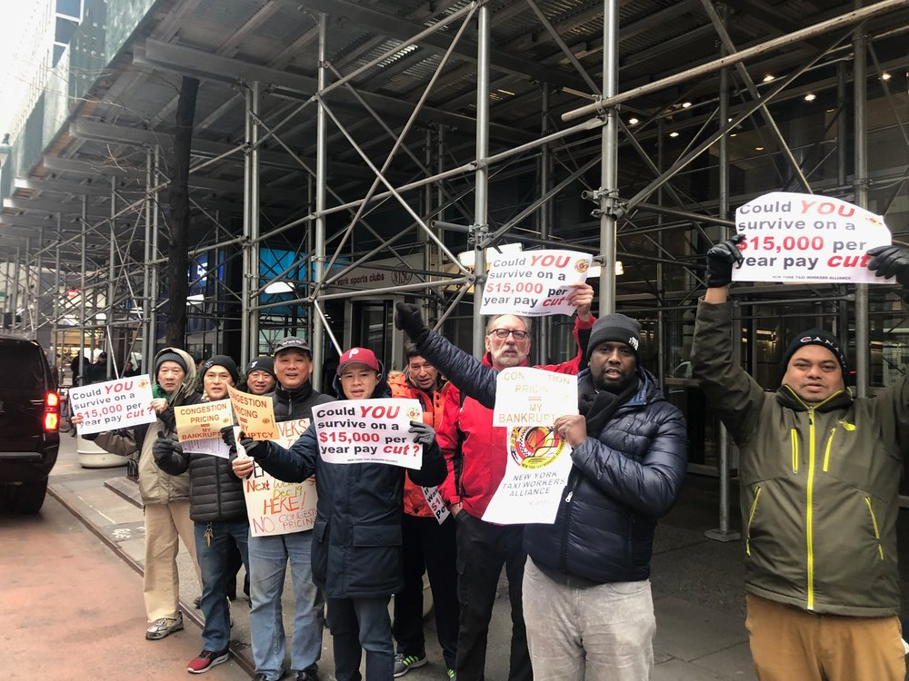 Our members braving the cold on the protest line to call on the Governor to exempt yellow and green cabs from congestion pricing fee!