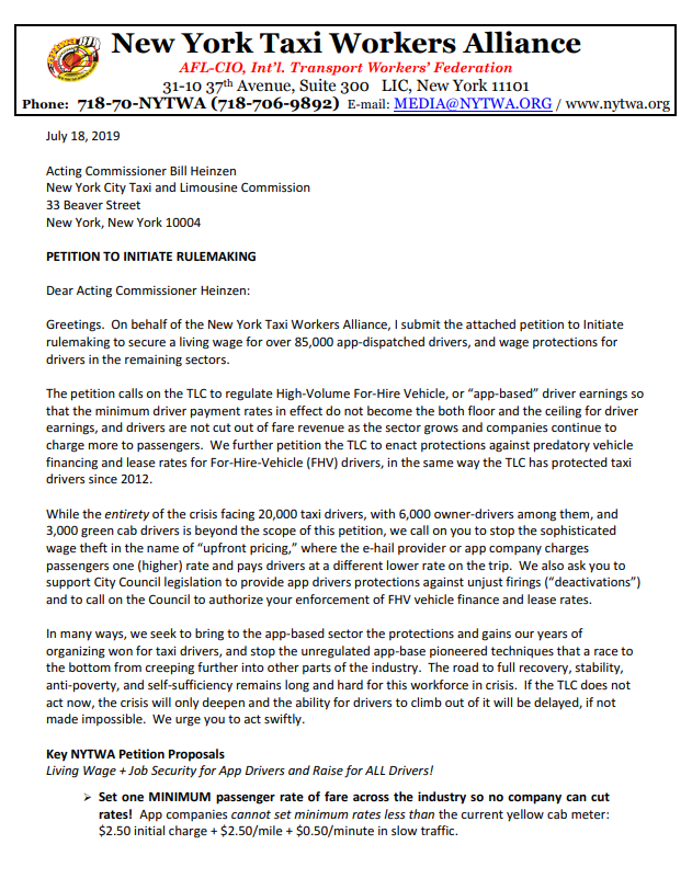 Economic Proposals — New York Taxi Workers Alliance