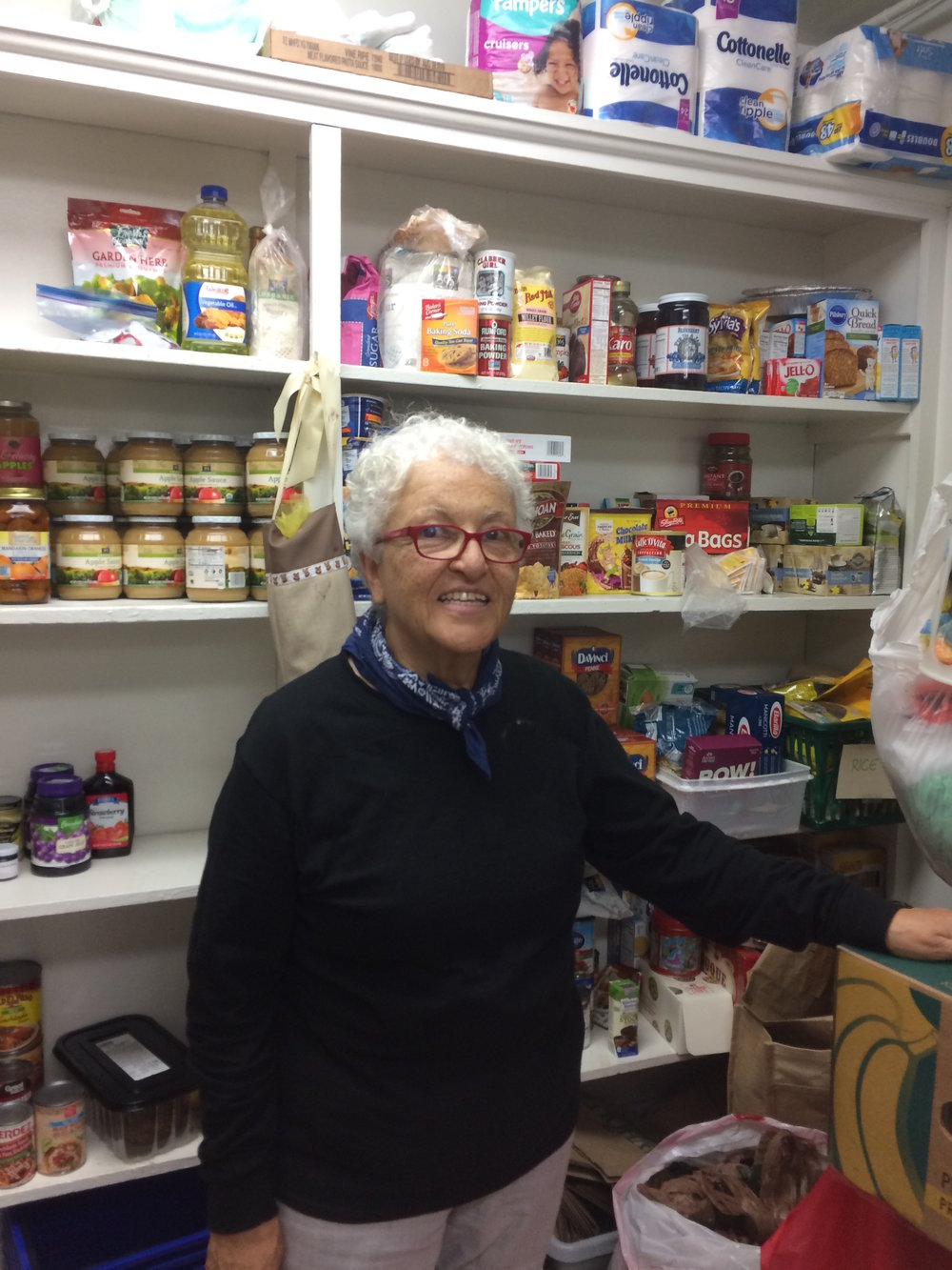 Fran, Samaritan volunteer, wears many hats - helping in both our development office and the food pantry.