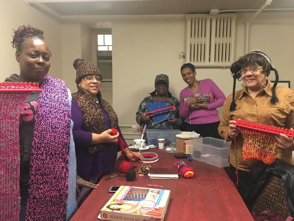 """Members of our """"Knitting Club"""" come together and make beautiful scarves, hats, and more. They also have created strong bonds with one another."""
