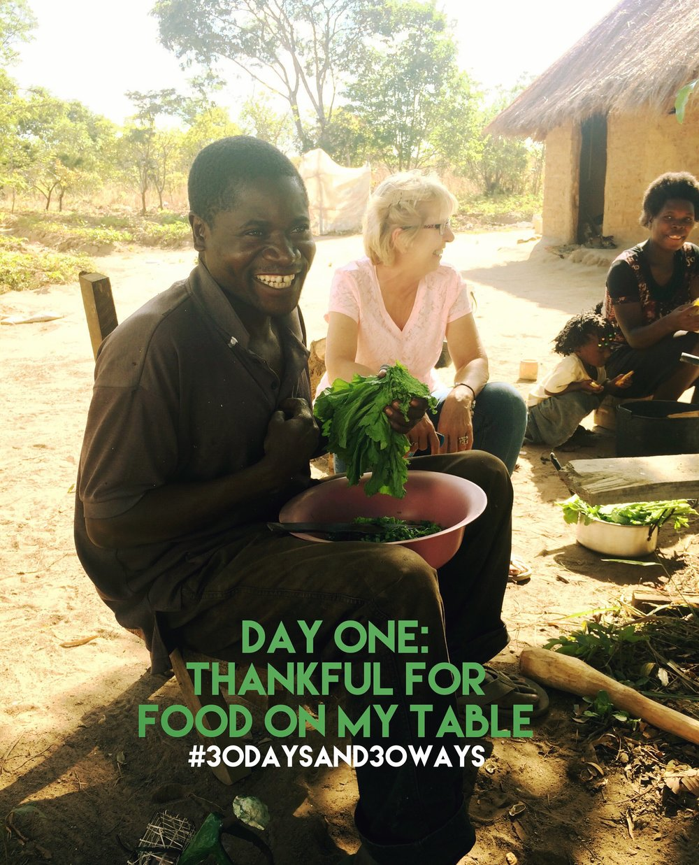 Day One:   we're thankful for food on our table so we're inspiring you to give food to Life Okendewa   in our $8 monthly Nutrition Package (or one time donation if $100 to feed one kid for one year)!!!