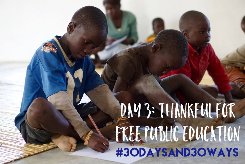 Day 3: we're thankful for the opportunity we have in the US for every child to go to school! If you're grateful for public education then consider applying for the KID-to-KID Club where we partner your child with a Zambian kid to send them to school!!    For $10/year we send 1 kunchubwe kid to school!  Learn more