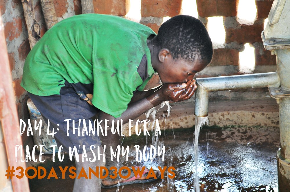 Day 4: We're thankful that we have a place to keep our bodies clean (and thankful you do too!).   At Life Okendewa   we're building a bathhouse where all our kids will get squeaky clean everyday! If you're thankful for your tub, consider giving one bathing station  🚿   for $250!