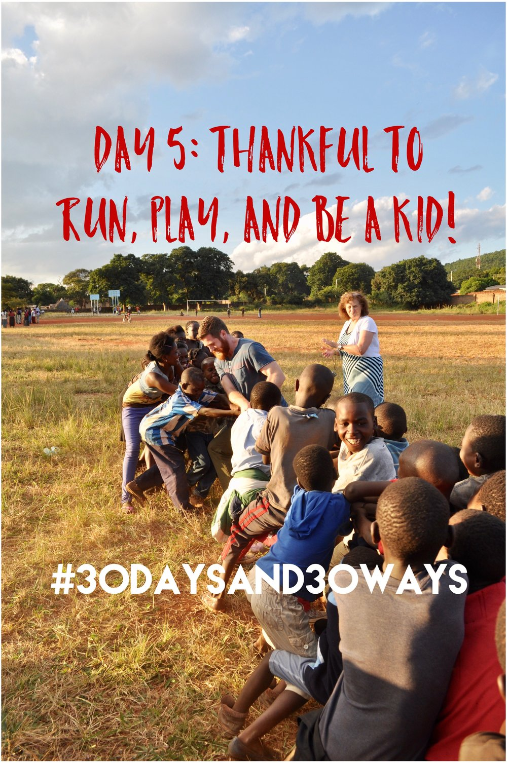 Day 5:  we're thankful for a space to run, play, and be a kid!! Whether you like to go to the playground, play basketball at the park, or enjoy nature on walking trails - everyone can agree its nice to have a place to play! Today we're asking you to be INSPIRED to give $20 to build a community playground at Life Okendewa - a place where kids can be kids!