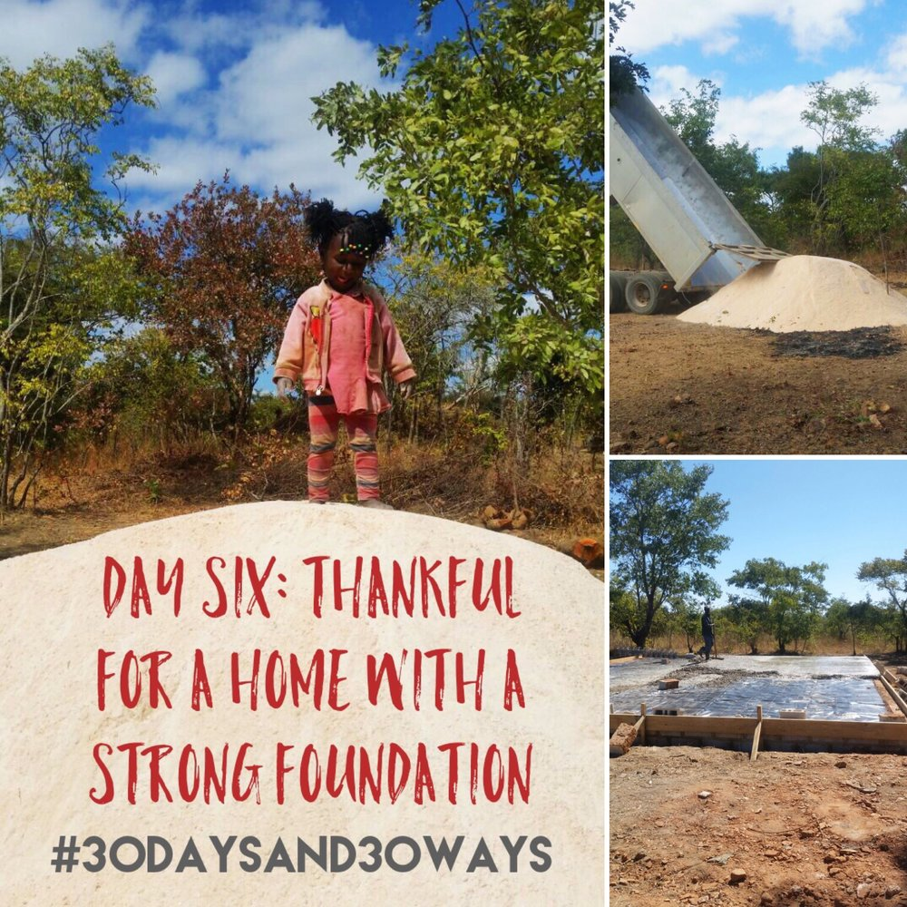 Day 6 : we're grateful for houses and buildings with strong foundations!! We don't often think about things like our home's foundation - but if you're thankful that we don't have to worry about such things - then you can buy ONE TON of quarry and sand for $11.50 to help make our Life Okendewa houses strong like yours! We delivered OVER 130 TONS of quarry and sand to build our first Life Okendewa   home!