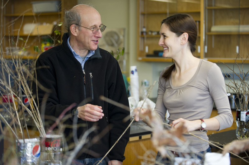 Libby Ellwood (GRS,'12), right, helps prep twigs with the help of biology Professor Richard Primack for a study in Metcalf Science Center January 10, 2012. A group of students along with biology Primack are testing how winter twigs reacts to a climate change before they are ready for temperatures to change.   Photo by Cydney Scott for Boston University Photography