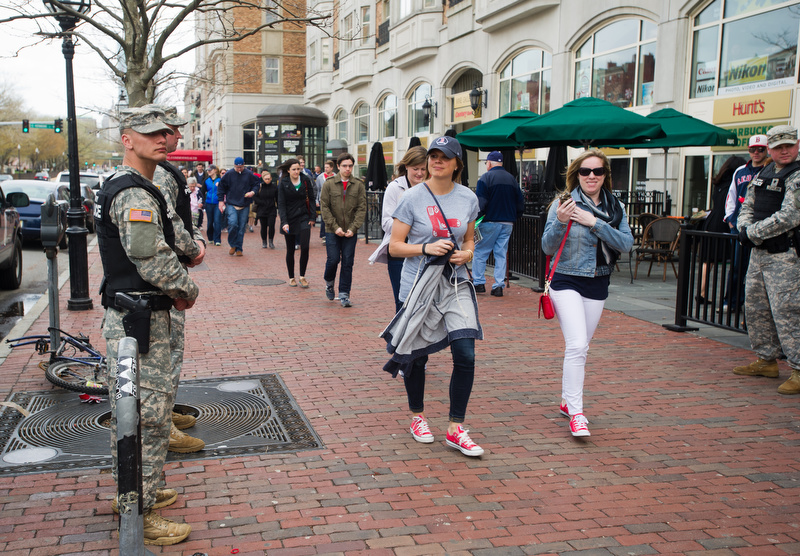 Military police had a presence in Kenmore April 20, 2013 as fans headed to Fenway Park.