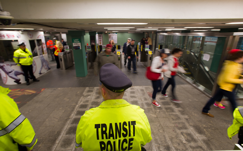 A heavy presence of transit police in the Kenmore Square T stop April 20, 2013.