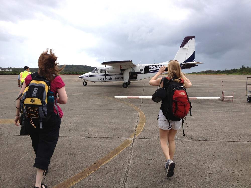 boarding a tiny plane in PR